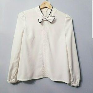 Tops - Cream Bow Tie Blous S
